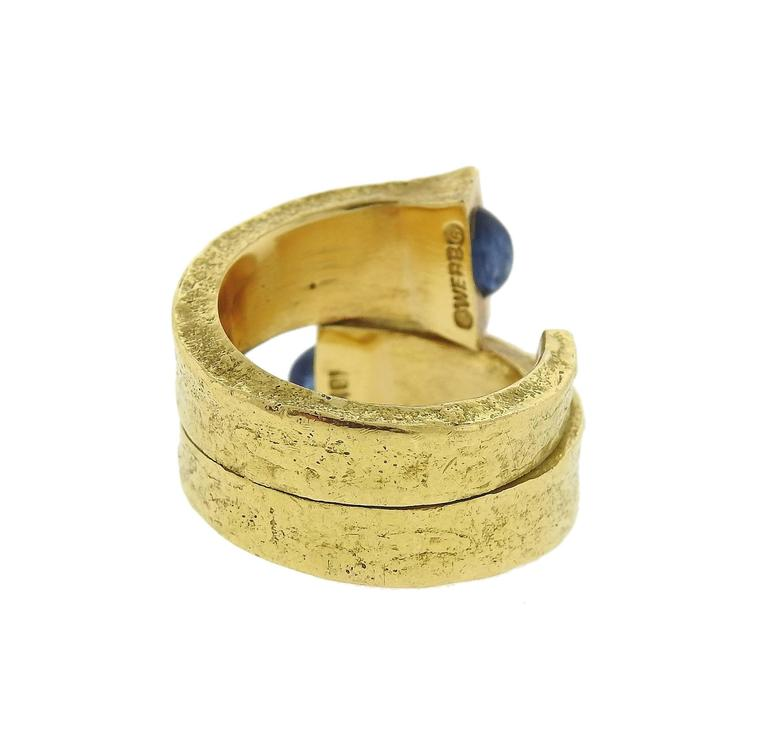 David Webb Iconic Sapphire Gold Rustic Nail Ring In Excellent Condition For Sale In Lahaska, PA