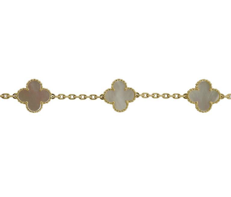 Van Cleef & Arpels Vintage Alhambra Mother-of-Pearl Gold Bracelet 4