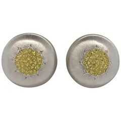 Buccellati Geminato Sterling Silver Gold Button Earrings