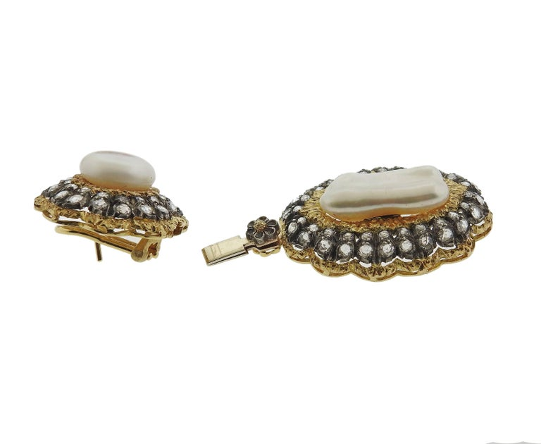 Buccellati Rose Cut Diamond Pearl Gold Night and Day Earrings For Sale 3