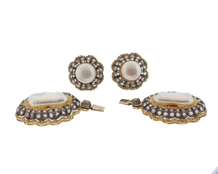 Buccellati Rose Cut Diamond Pearl Gold Night and Day Earrings For Sale 2