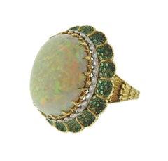 Buccellati Opal Diamond Emerald Gold Cocktail Ring