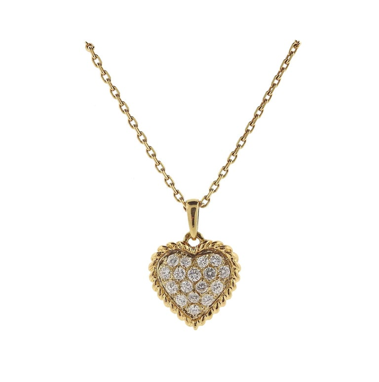 Van Cleef & Arpels Diamond Heart Pendant Gold Necklace