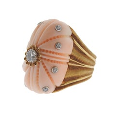 Exquisite Buccellati Carved Coral Diamond Gold Ring