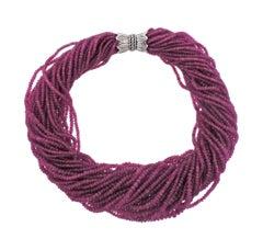 Adria De Haume Pink Sapphire Diamond Gold Necklace