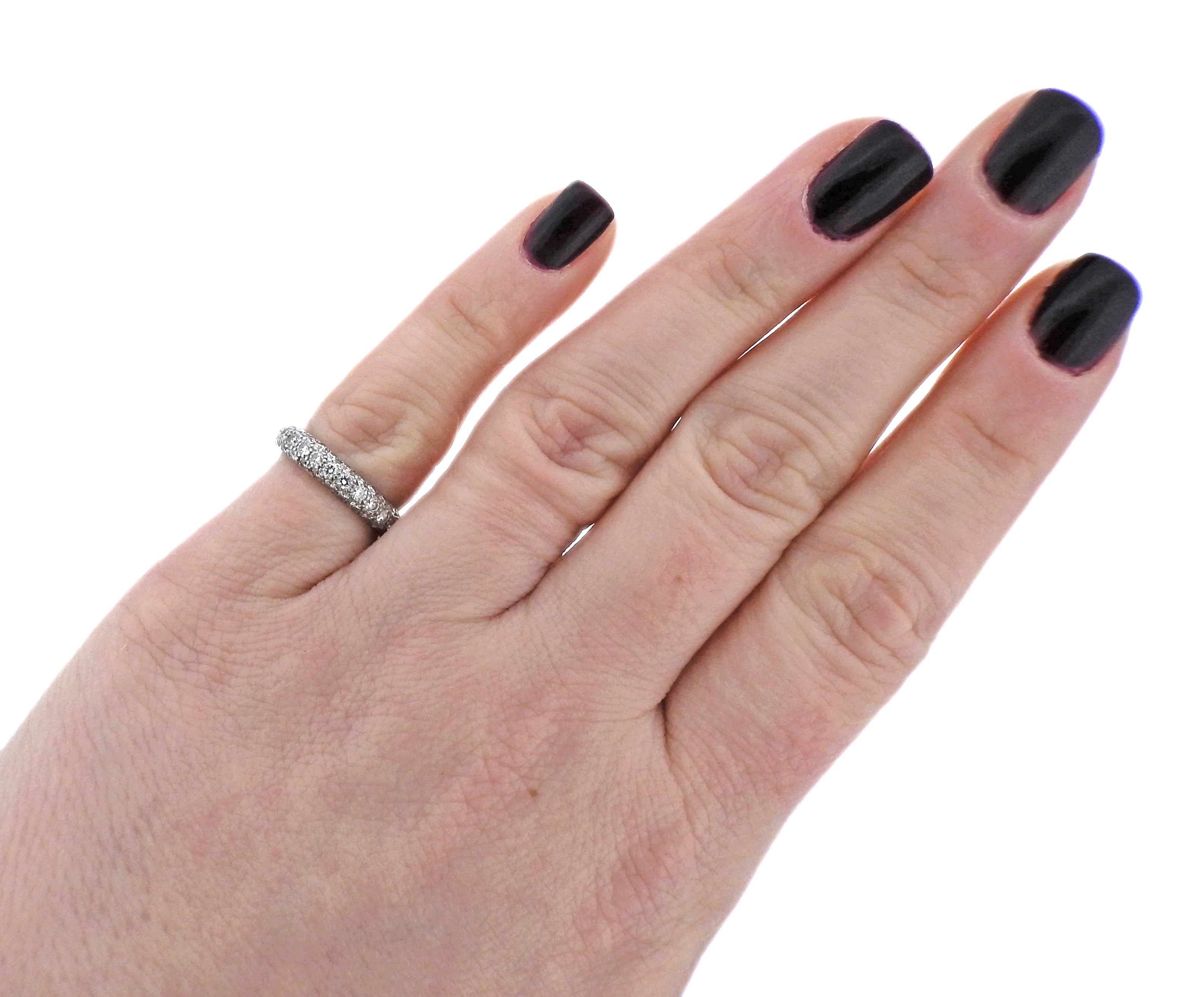 Tiffany and Co Etoile Diamond Platinum Wedding Band Ring at 1stdibs