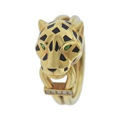Cartier Panthere Diamond Enamel Tsavorite Gold Ring