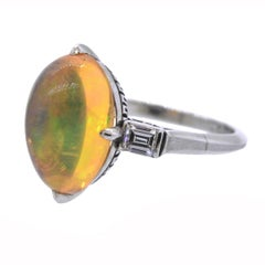 Fire Opal Diamond Platinum Ring