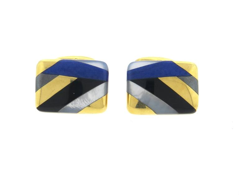 Asch Grossbardt Inlay Onyx Lapis Mother of Pearl Large Gold Cufflinks 4