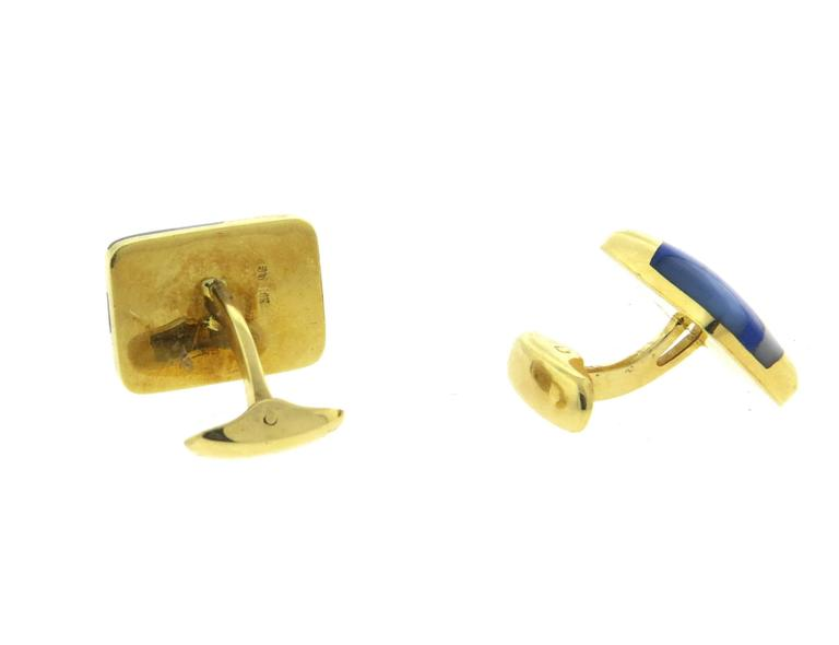 Asch Grossbardt Inlay Onyx Lapis Mother of Pearl Large Gold Cufflinks In Excellent Condition For Sale In Lahaska, PA