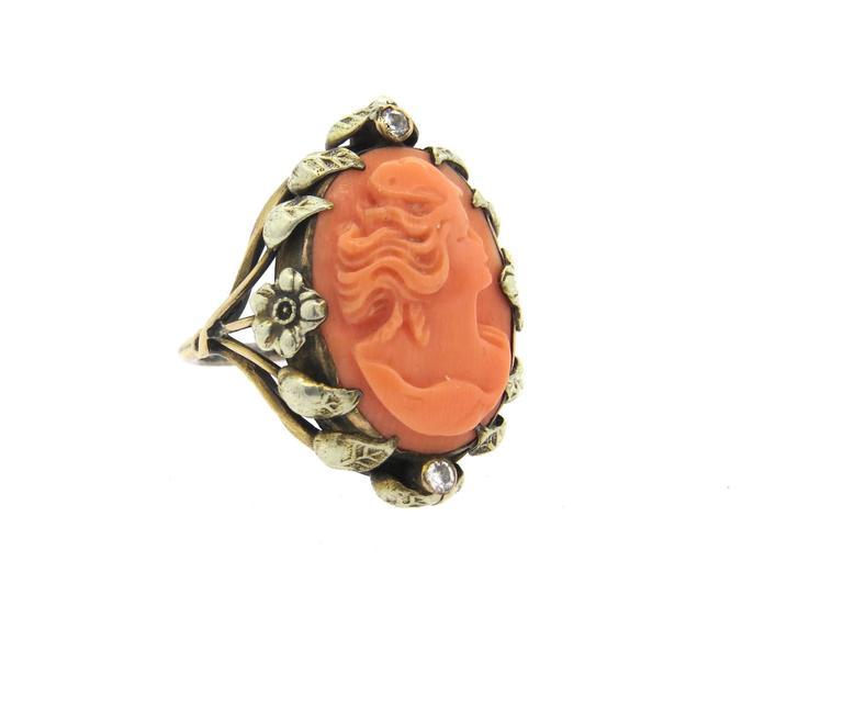 Antique Coral Cameo Diamond Gold Ring  3