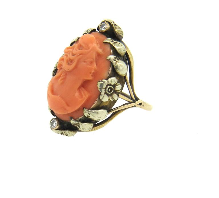 Antique Coral Cameo Diamond Gold Ring  For Sale 1