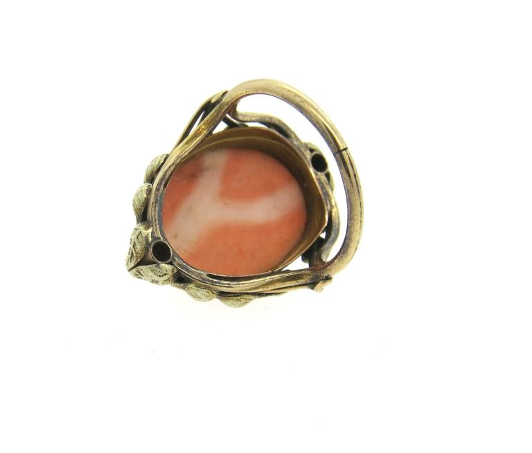 Antique Coral Cameo Diamond Gold Ring  4