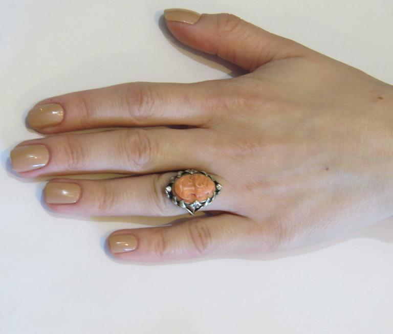 Antique Coral Cameo Diamond Gold Ring  6