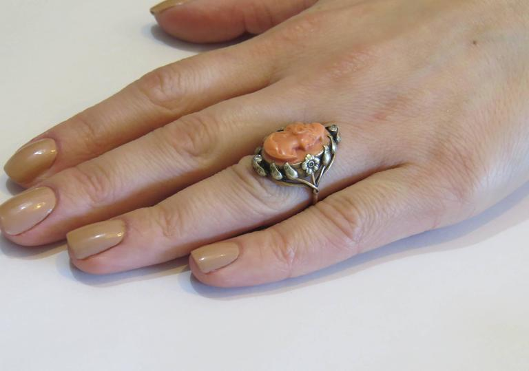 Antique Coral Cameo Diamond Gold Ring  7
