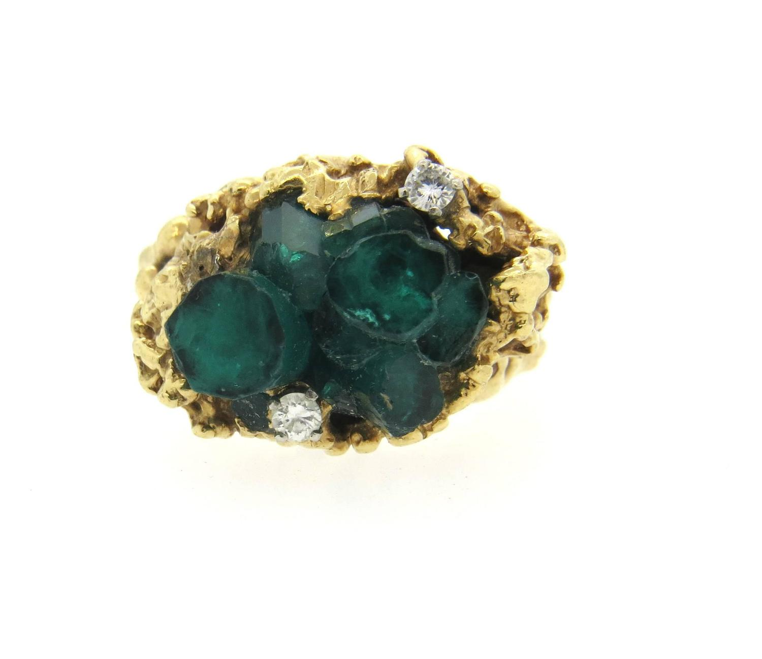 free form 1970s gold chatham emerald ring for sale
