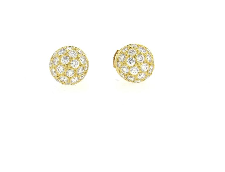 A Pair Of 18k Yellow Gold Stud Earrings Crafted By Cartier Decorated With Roximately