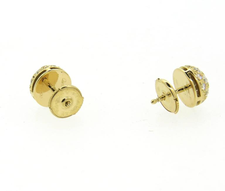 Cartier Pave Diamond Gold Stud Earrings In Excellent Condition For Lahaska Pa