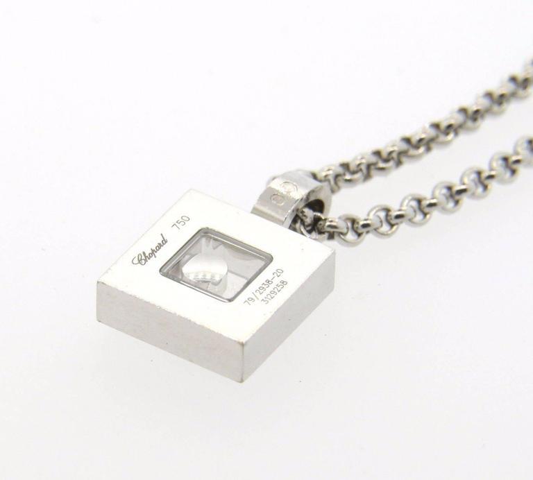 713350050186e Chopard Happy Diamonds Gold Diamond Square Pendant Necklace