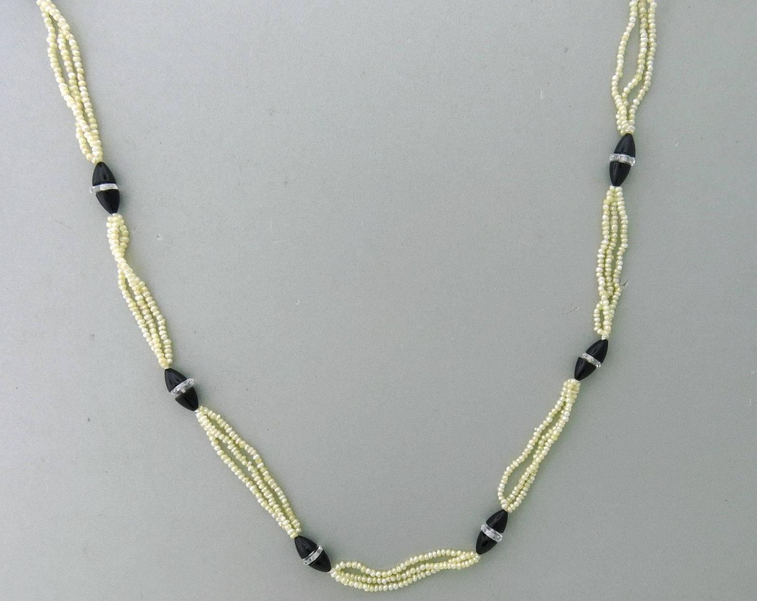 1920s mikimoto onyx cut pearl gold necklace at 1stdibs