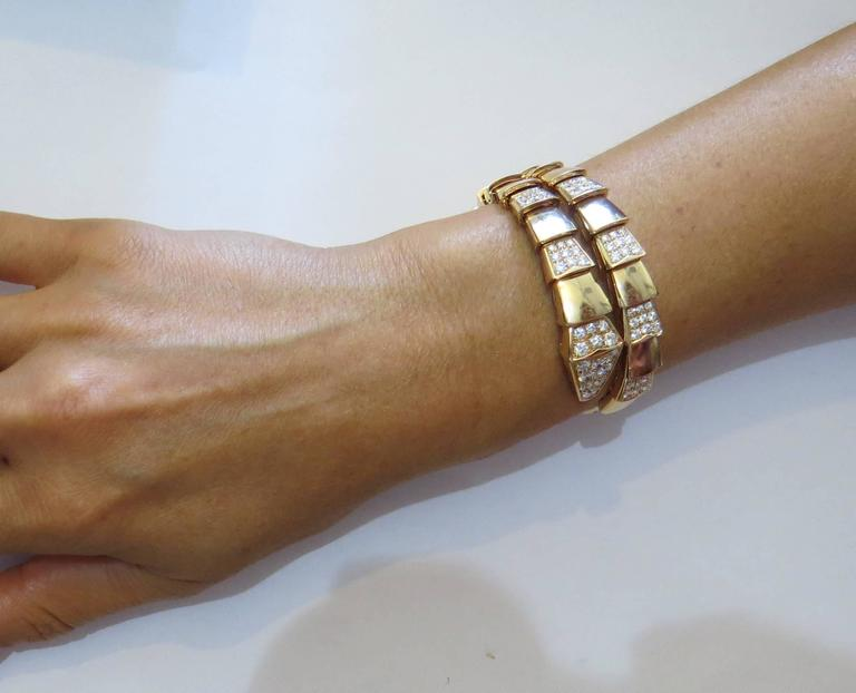 Impressive Bulgari Serpenti Diamond Gold Wrap Bracelet In New Condition For Lahaska Pa
