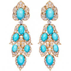 Magnificent 1960s Van Cleef & Arpels Turquoise Diamond Gold Earrings