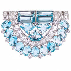Cartier London Art Deco  Aquamarine Diamond Clip Brooch