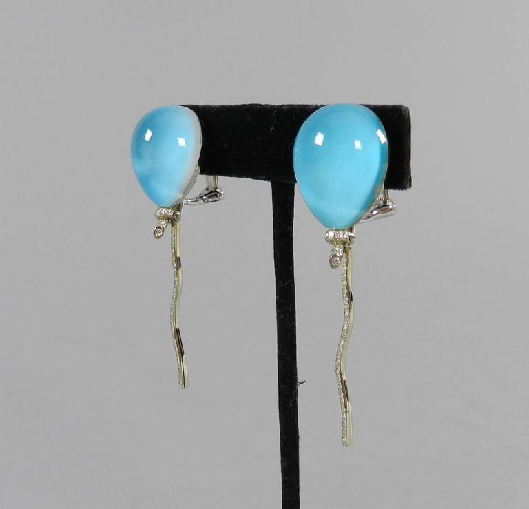 Women's Vhernier Rock Crystal Diamond Gold Abalone Balloon Earrings For Sale