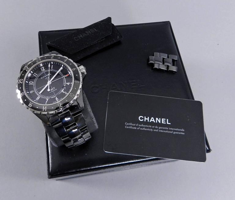 chanel stainless steel ceramic j12 gmt automatic. Black Bedroom Furniture Sets. Home Design Ideas