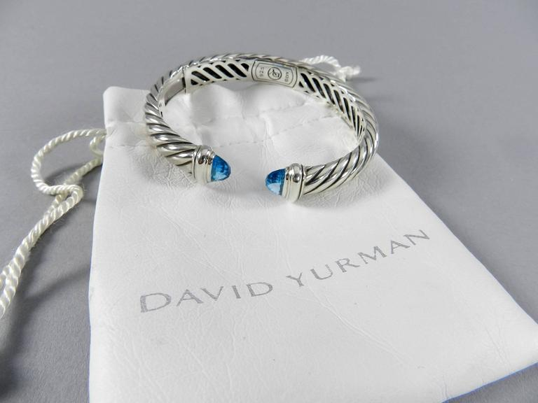 David Yurman Waverly Sterling Silver Cuff Bracelet With Blue Topaz Hinged On One Side