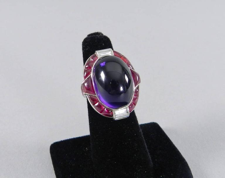 1930s Verdura Art Deco Ruby Cabochon Amethyst Diamond