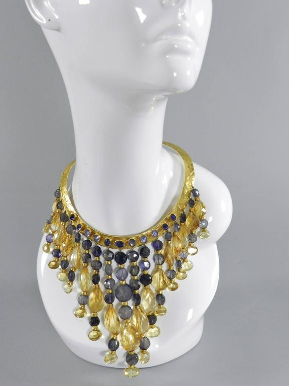 Classical Greek Eileen Coyne Tourmaline Hammered Gold Fringe Necklace For Sale
