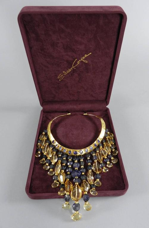 Eileen Coyne Tourmaline Hammered Gold Fringe Necklace In Excellent Condition For Sale In Toronto, CA