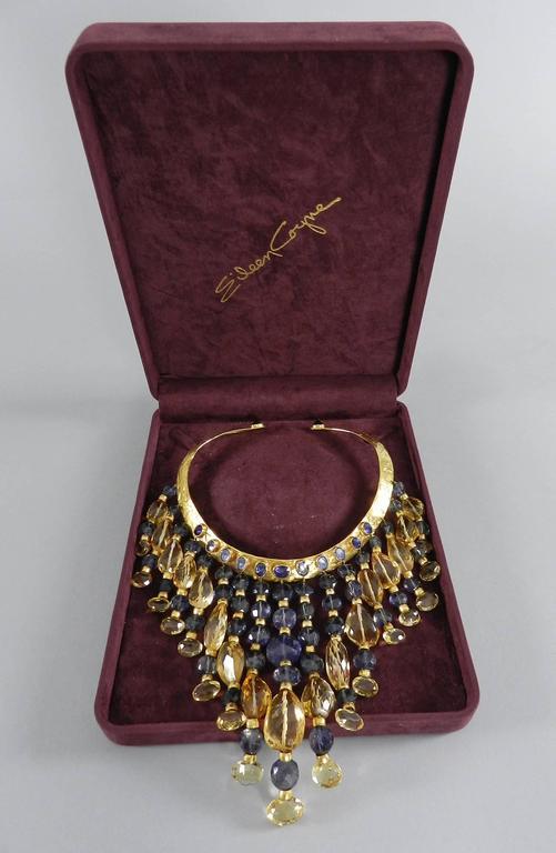 Eileen Coyne Tourmaline Hammered Gold Fringe Necklace 4