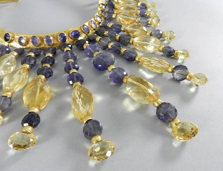 Women's Eileen Coyne Tourmaline Hammered Gold Fringe Necklace For Sale