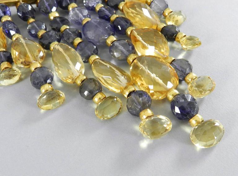 Eileen Coyne Tourmaline Hammered Gold Fringe Necklace For Sale 1