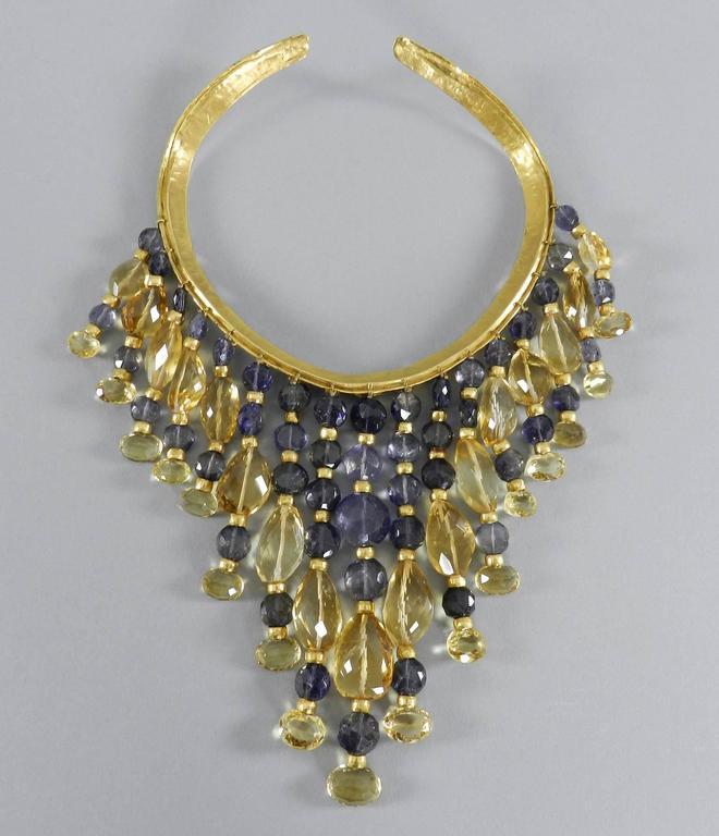 Eileen Coyne Tourmaline Hammered Gold Fringe Necklace For Sale 2