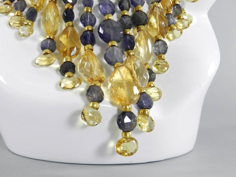 Eileen Coyne Tourmaline Hammered Gold Fringe Necklace For Sale 3