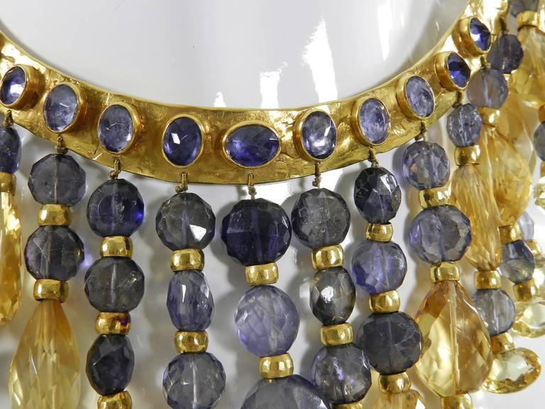 Eileen Coyne Tourmaline Hammered Gold Fringe Necklace 9