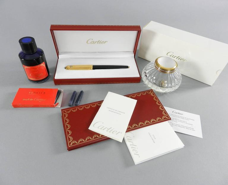 Pasha de Cartier Fountain Pen with Inkwell dated 1989 In Excellent Condition For Sale In Toronto, Ontario
