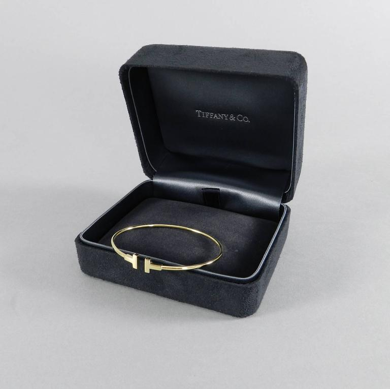 Tiffany and Co Narrow Gold T Wire Bracelet at 1stdibs