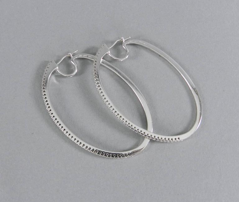 garavelli diamond white gold large hoop earrings at 1stdibs. Black Bedroom Furniture Sets. Home Design Ideas