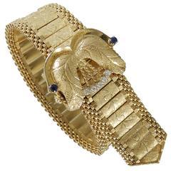 Diamond Sapphire Clasped Gold Bracelet