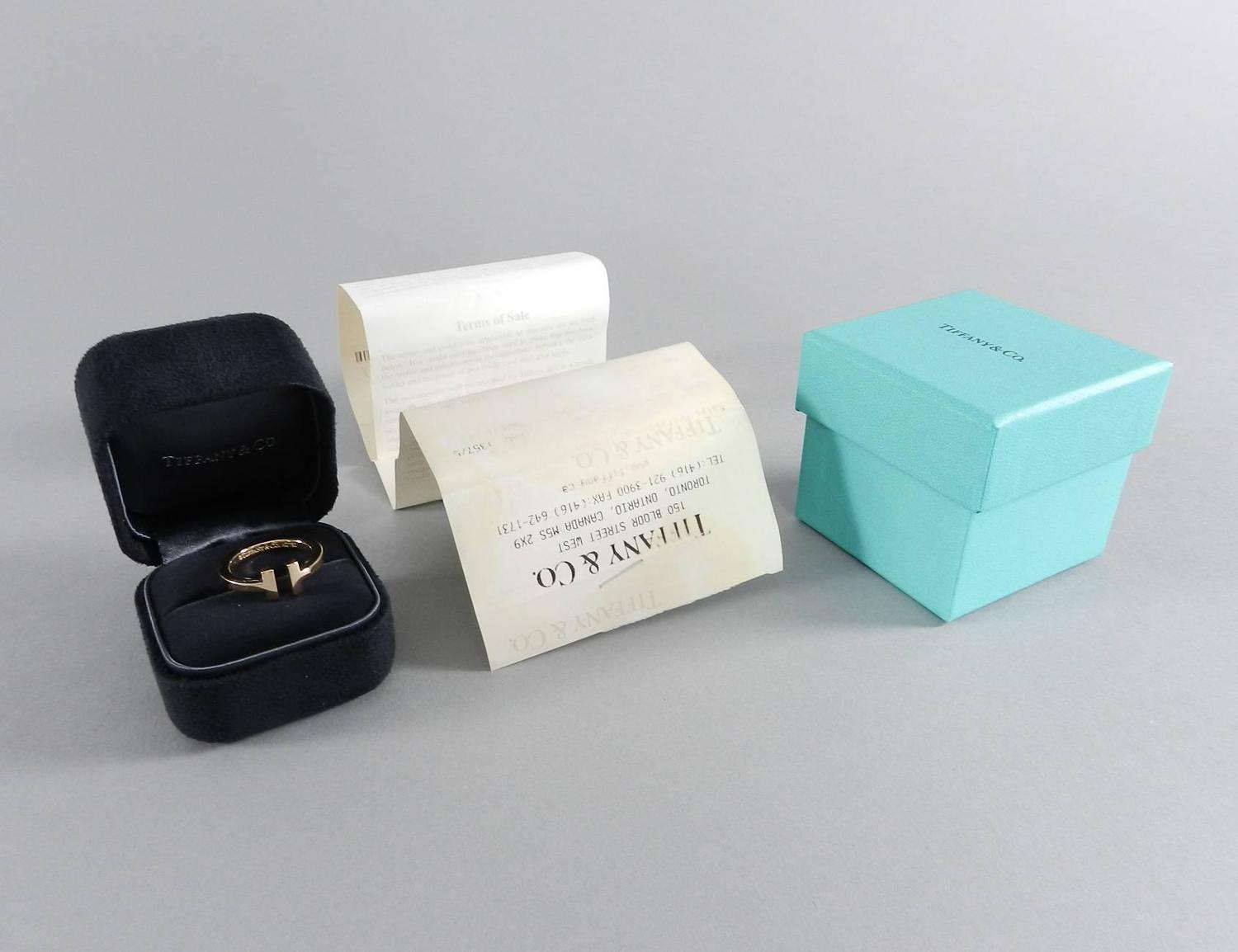 Tiffany and Co Rose Gold T Square Ring - size 7.5 at 1stdibs
