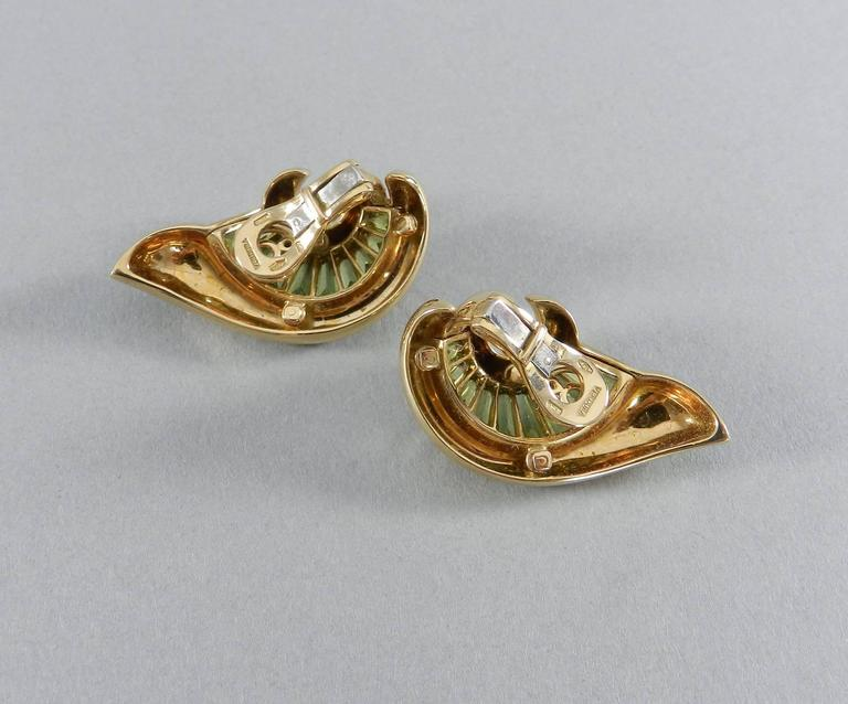 Verdura Green Tourmaline Gold Swirl Clip Earrings For Sale 1