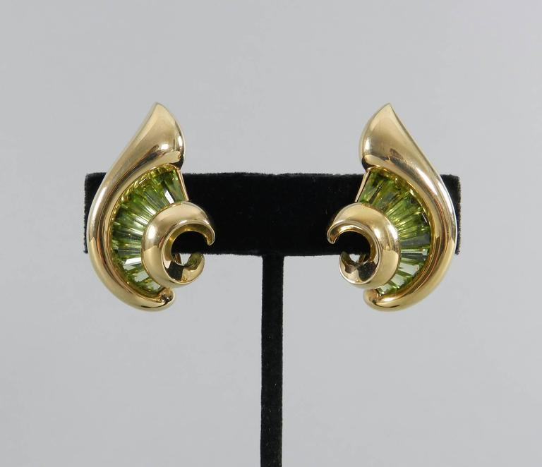 Verdura Green Tourmaline Gold Swirl Clip Earrings For Sale 2