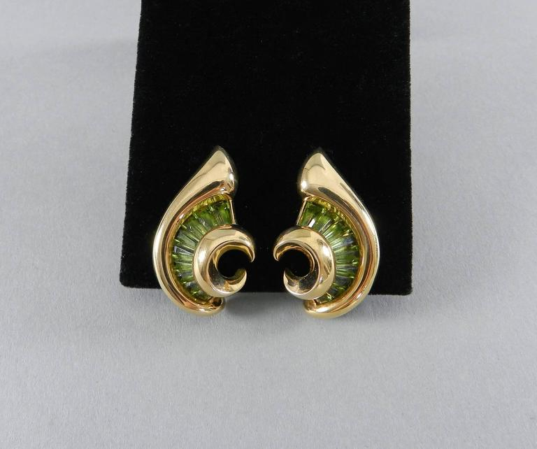Verdura Green Tourmaline Gold Swirl Clip Earrings For Sale 3