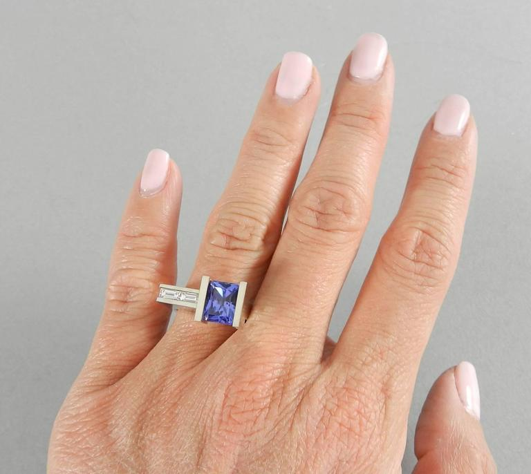 Modernist Abstract White Gold Tanzanite And Diamond Ring