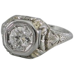 Art Deco 1920s White Gold European Cut Diamond Engagement Ring