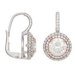 Diamond White Gold Round Drop Earrings